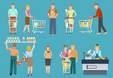 Buyers In Supermarket Set. With men and women trolleys and backets on blue background isolated vector illustration Stock Photo