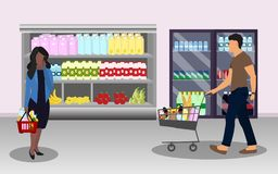 Buyers. Woman with a basket and man with cart at supermarket stock illustration