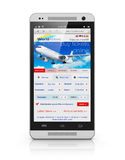 Buying air tickets via smartphone. Creative abstract business air travel, mobility and communication concept: modern touchscreen smartphone or mobile phone with Royalty Free Stock Photography