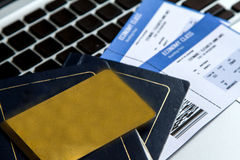 Buying Airline tickets. On line with a credit card Stock Images