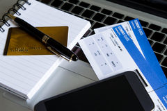 Buying Airline tickets. On line with a credit card Stock Photography
