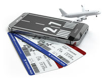 Buying airline tickets online concept.  Smartphone or mobile pho Royalty Free Stock Image