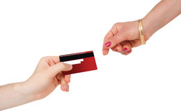 Buying And Paying Money With Credit Card Royalty Free Stock Photography