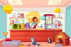 Buying animals in pet store cartoon vector concept. Modern pet shop interior cartoon vector concept. Happy smiling female salesperson in apron, standing behind vector illustration