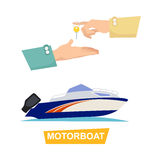 Buying Blue Speed Motorboat on White Background. Buying blue and white speed motorboat on white background. Boat selling encouraging customers vector vector illustration