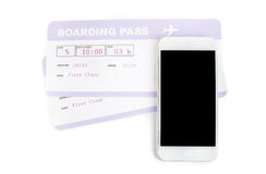 Buying boarding pass. Smartphone boarding pass by concept of buying boarding pass online Royalty Free Stock Photos