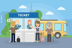 Buying bus tickets. Royalty Free Stock Images