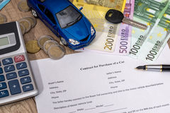 Buying A Car With Euro Pen Calculator And Toy Car Stock Image