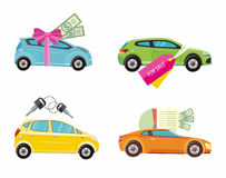 Buying car, rent and loan. Car loan approved document with dollars money. Buying car concept. Gift car and red ribbon with dollars money. Car sale. Rent a car Stock Photo