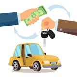 Buying A Car Vector. Dealer, Buyer Hand. Car Showroom. Flat Illustration. Car Sharing, Rent Vector. Dealer Giving Keys Chain. Car Owner. Purchase Sale Or Rental Stock Photography