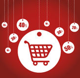 Buying cart sale tags discounts Royalty Free Stock Image