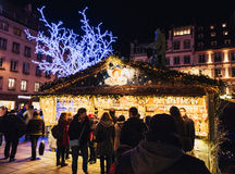 Buying Christmas Market chalets shopping Alsace Stock Photography
