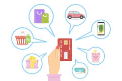 Buying with credit card. royalty free illustration