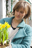 Buying Daffodils stock images