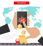 Buying and Fast Delivery by Smartphone Royalty Free Stock Image