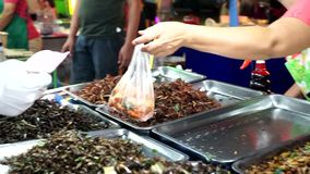Buying fried insects, Thailand street food stock footage