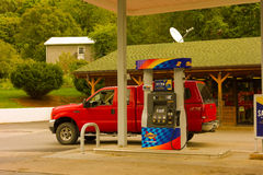 Buying gas on a road trip though the united states Stock Photography
