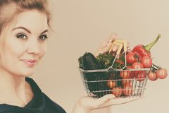 Woman holds shopping basket with vegetables Royalty Free Stock Photo