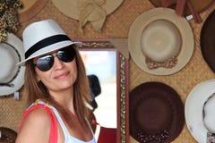 Buying hats stock photos