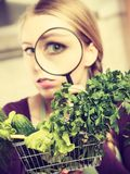 Woman looking through magnifier at vegetables basket. Buying healthy dieting food concept. Woman in kitchen having many green vegetables looking through Royalty Free Stock Image