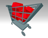 Buying a home. Buying a home concept with houses in shopping trolley Stock Photography