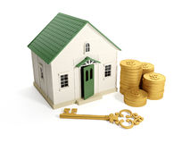 Buying a home. 3d illustration: Buying a home, real estate loan. Toy house with a golden key and a group of gold coins Stock Photography