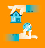 Buying a home. Hand holding house Royalty Free Stock Image