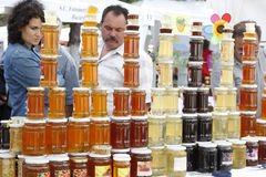 Buying honey products Stock Photo