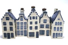 Buying a house. A row of delt blue (aka dutch china) houses Royalty Free Stock Image