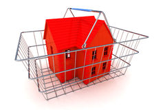 Buying a House Concept. A Colourful 3d Rendered Buying a House Concept Illustration showing a Red coloured house in a shopping basket Royalty Free Stock Image