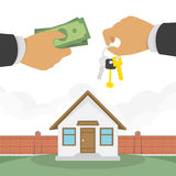 Buying a house vector illustration. Stock Photography