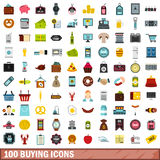 100 buying icons set, flat style Royalty Free Stock Photos