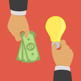 Buying ideas concept. Hand holds money, hand holds light bulb. Vector illustration of investing in innovation or modern technology business. Concept of deal Royalty Free Stock Images
