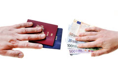 Buying illegal foreign passport hands exchanging money and documents. Buyer seller isolated on white stock photography