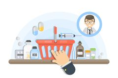 Buying medicine online. Shopping cart with pills royalty free illustration