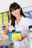 Buying medicine at pharmacy Royalty Free Stock Images