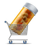 Buying Medicine. From a pharmacy or on line retailer medication concept with a shopping cart carrying a prescription pill bottle as a symbol of choosing the Stock Photo