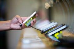 Buying mobile phone royalty free stock image