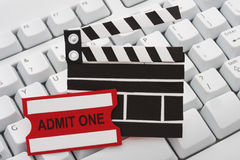 Buying Movie Tickets Online Stock Photo