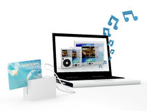 Buying music on line Royalty Free Stock Photography