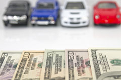 Buying a new car for cash Stock Image