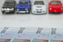 Buying a new car for cash Stock Images