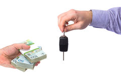 Buying new car for cash Royalty Free Stock Image