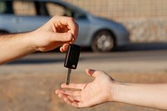 Buying new car, passing key Stock Photography
