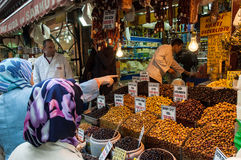 Buying Olives In Istanbul Royalty Free Stock Images