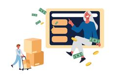 Buying online, buyer purchasing domestic appliances, ecommerce website user ordering products in Internet. Online shopping and delivery service concept cartoon royalty free illustration
