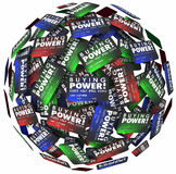 Buying Power Words Credit Cards Sphere Borrow Money Loan Debt Stock Image