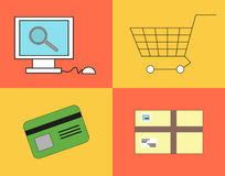 Buying process in the online shop. In flat style Stock Photos