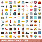 100 buying school icons set, flat style Royalty Free Stock Image