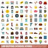 100 buying school icons set, flat style. 100 buying school icons set in flat style for any design vector illustration Royalty Free Stock Image